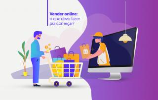 Ilustração de homem com carrinho de compras recebendo produto de uma pessoa de dentro do computador, ilustrando o conceito de como vender online.