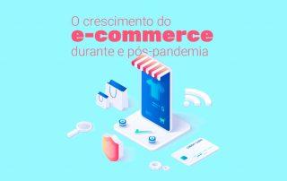 Imagem isométrica com elementos ilustrando a venda online, como celular, cartão de crédito, lupa, sacolas e símbolo de segurança, para tratar sobre o assunto o crescimento do e-commerce durante e pós-pandemia.