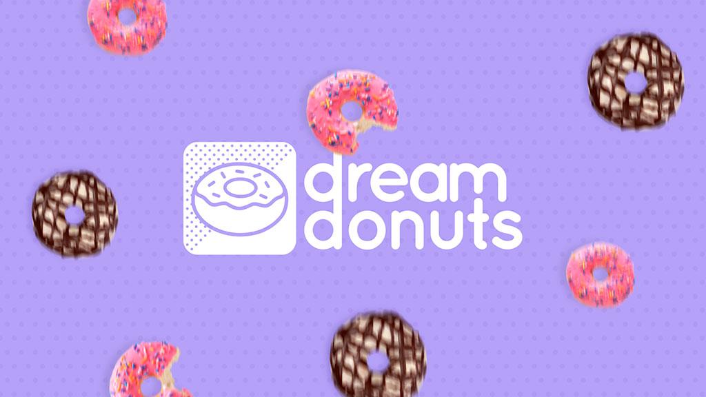 Donuts caindo em tela com fundo roxo e a marca em branco da Dream Donuts