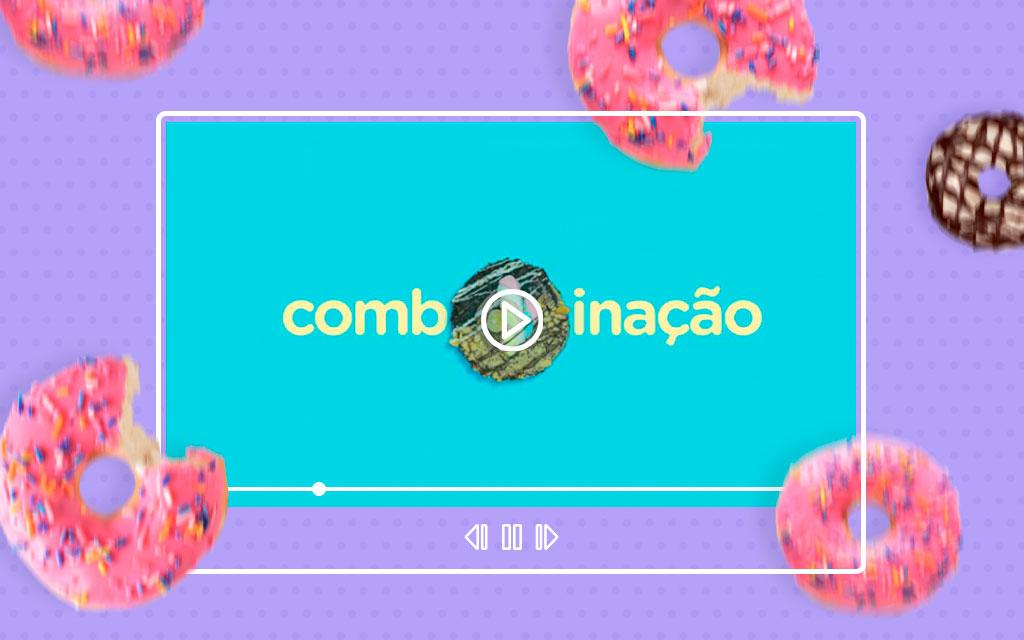 Dream Donuts Filme Institucional, donuts caindo sobre tela indicando que existe um filme publicitário para ser assistido.