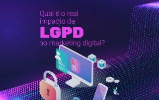 Imagem com fundo roxo, em primeiro plane desenhos de computador cadeados, celular, ilustrando o conceito de LGPD no marketing digital. Lei Geral de Proteção de Dados