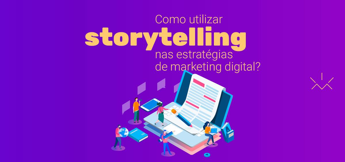 Ilustração isométrica concietual com várias pessoas montando um storytelling.