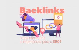 Ilustração de homem e mulher analisando e criando backlinks