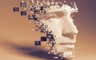 Rosto sendo formado em pixels 3D, representando o conceito de Programação Neurolinguística em estratégias de marketing.